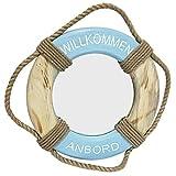 Holz-Rettungsring mit Spiegel in der Mitte, natur-blau-weiss, 38 cm Durchmesser, mit Schriftzug 'Willkommen' und Jute-Band zum Aufhängen, Shabby-Look, als Tür-Deko oder Spiegel für kleines Gäste-WC.