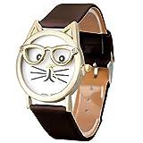 yistu Gafas de patrón reloj de muñeca, diseño de gato gato Mujeres cuarzo analógico Dial reloj de pulsera Varios colores marrón Talla:Size unique