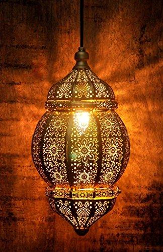 Logam Gold Moorish Moroccan Hanging Pendant Lamp