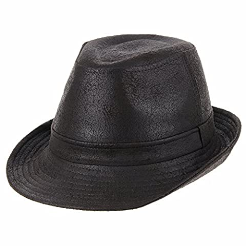 WITHMOONS Chapeau Fedora Indiana Jones Faux Leather Fedora Hat LD3278 (Darkbrown, XL)
