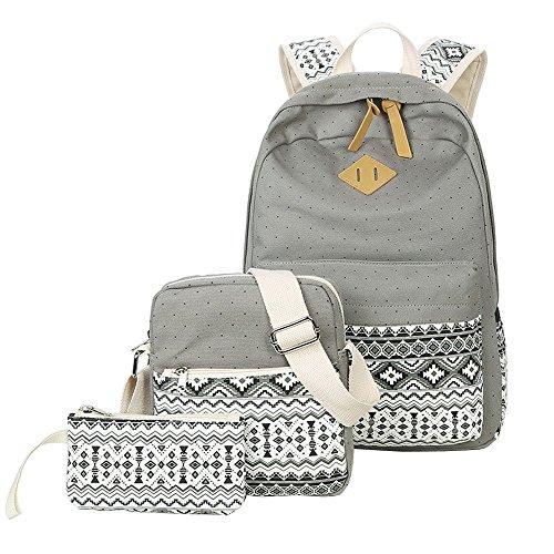 Wasserdichter Segeltuch-Rucksack-Laptop-Beutel-leichter Beiläufiger Schulrucksack-Rucksack Für Jugendlich Mädchen (1 Stück Umfaßt: Rucksack, Umhängetasche, Mäppchen) ( Color : Gray ) - Leichte Computer-rucksack