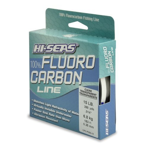 hi-seas 100% Fluorocarbon Schnur Line, Clear, 15 Pound Test, 200-yard by hi-seas -