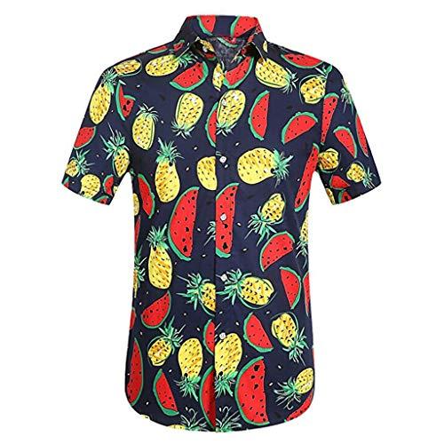 LUCKYCAT Herren T-Shirt Kurzarm Shirt Hemd Kurzarm Sommer Oversize Sonnenblume Drucken Stylisches Männer Hawaiihemd Stretch Kurzarmhemd Jungen Basic Shirt Freizeit Urlaub Sommerhemd Beach Strand