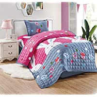 Compressed Comforter 3 Piece Set For Kids Single Size, Bunny Colors By Moon, Multi Color, Mixed Material
