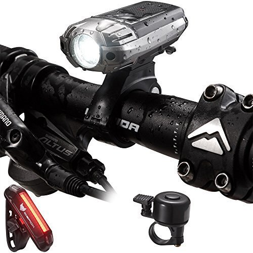 Icefox Luz de bicicleta, USB recargable impermeable bicicleta luces con luz delantera y luz trasera, 4 modos de luz para un ciclo de seguridad (con una campana de bicicleta gratis)