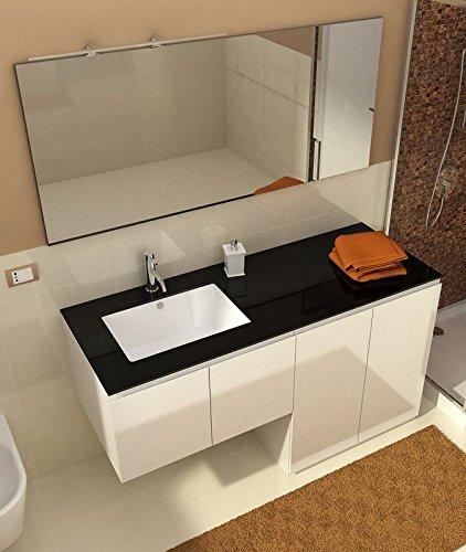 Mobile arredo bagno con portalavatrice coprilavatrice da 160 cm bianco lucido reversibile con for Mobile bagno con portalavatrice