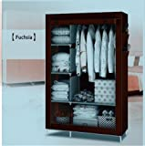 GTC Fabric Foldable Closet Multipurpose Wardrobe with Shelves, 62x31x8cm (Coffee)
