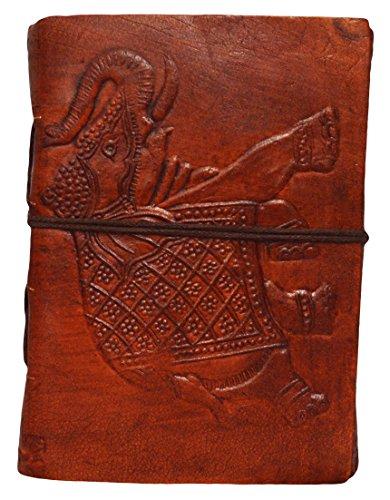 Zap Impex leer Leder Journal Tagebuch (5 x 4 \') Elefant Reise-Notebook mit Büttenpapier Unlined