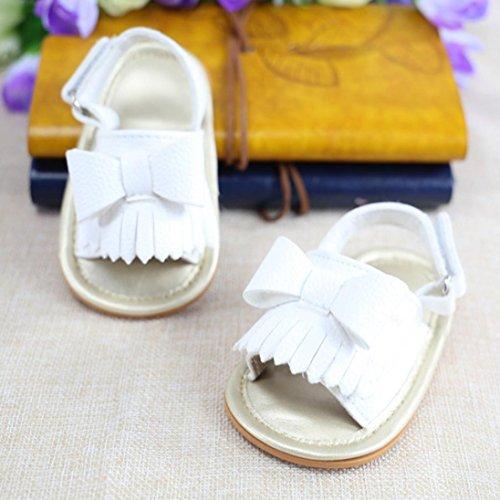 Igemy 1 Paar Baby Mädchen Quaste Bowknot Sandalen Schuhe Sneaker Anti-Rutsch Soft Sole Kleinkind Weiß