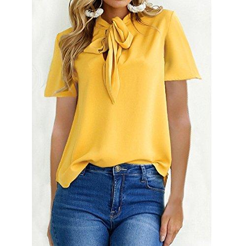 Women Lace-Trim Top T-Shirt Top Yellow Short Sleeve