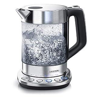 Arendo - Glas Wasserkocher mit Temperatureinstellung   Warmhaltefunktion (30min)   1,5 Liter Füllmenge   robustes Borosilikatglas   Basisstation aus Edelstahl   Modernes Design   Zertifiziert BPA Frei