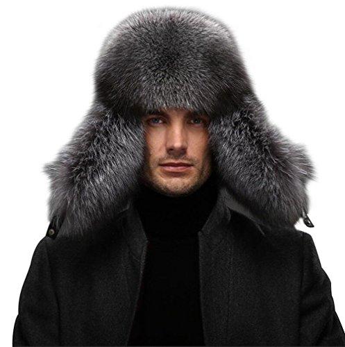 Männer Ushanka Hut - Winter Real Raccoon Pelz Fox Pelz echte Lammfell Russland Aviator Hüte Fliegermützen (Silber Fox (Hut Aviator)