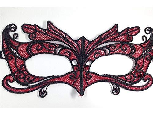 Blue Bridge Fox Lace Ausschnitt Maske Prom Party Maskerade Maske für venezianische Halloween (Rot) Festliche Dekoration