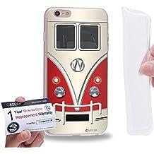 "Case88 [Apple iPhone 6 / 6s Plus (5.5"")] Gel TPU Carcasa/Funda & Tarjeta de garantía - Art Fashion Red Retro Bus Mini Van"