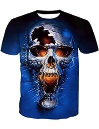 8bbc548e37a74c XS CAR T-Shirt Basique Homme en Coton - Crâne Imprimé Col Rond Manche