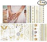 Autocollants de tatouages métalliques temporaires inimitables, 8 feuilles de tatouages de bijoux faux corps brillant pour les femmes les jeunes filles
