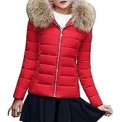 Theshy Damen Winterjacke Wintermantel Lange Daunenjacke Jacke Outwear Frauen Winter Warm Daunenmantel Arbeiten Sie festen beiläufigen dickeren dünnen Mantel um (S, Rot)