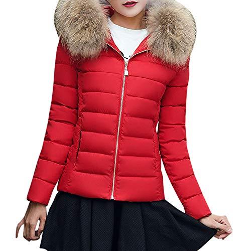 Uomogo donna elegante giacca invernale corta trapuntata da donna piumino giacca con cappuccio calda cappotti (s, rosso 1)