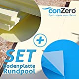 conZero Set Bodenplatte Rundpool kplt. Hartschaum- u. Vinyl Platte Ø 3,00m