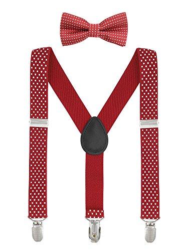 Baby Kinder Hosenträger mit Fliege Punkte Elastisch Gürtel 3 Clips Y-Form Jungen Mädchen Hosen Röcke Tutu Shorts Suspender - Rot (Jungen Und 1 Shorts)