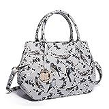 Miss Lulu Structured Matte Oilcloth Shoulder Tote Bag Bird Polka Dot Print Pattern Handbag (1633-16 Grey)