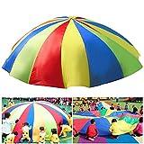 HTIANC Bunt Schwungtuch/ Game Schwungtücher/Sport Fallschirm Regenbogen Parachute für Kinder und Familie, Indoor&Outdoor, 2m Durchmesser