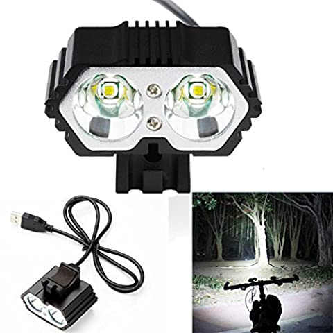 Taschenlampe, bobogo 6000LM 2x CREE XM-L T6LED USB Wasserdicht Lampe Fahrrad Scheinwerfer (Torch Light 2)