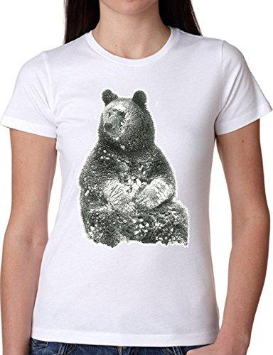 T SHIRT JODE GIRL GGG22 Z1731 BEAR SNOW WILD ANIMAL FOREST NATURE LIFESTYLE FASHION COOL BIANCA - WHITE