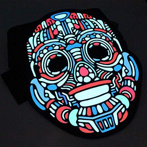 GUAN Kaltlicht Filmtonmaske Halloween Horror Lichtmaske 5 Funktionsblitzmaske (Burlesque Beauty Für Erwachsene Kostüm)