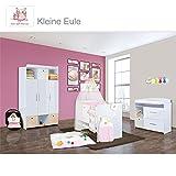 Babyzimmer Mexx in Weiss Hochglanz 22 tlg. mit 3 türigem Kl. + Set Eule in Rosa