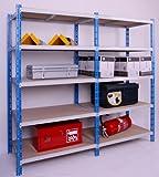 Profi-Schwerlast-Steckregal 300 GRUND 220x100x60cm, 5 Böden, 300KG/Boden blau/lichtgrau, Marke: Szagato (Lagerregal, Kellerregal, Werkstattregal, Regal)