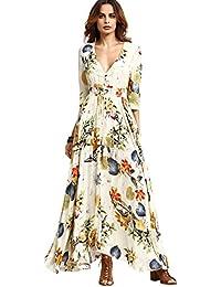 0115fb4d0a KUONUO vestidos de mujer Mujer Verano Cuello en V Boho Largo Maxi Vestido  Fiesta Nocturna playa