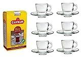 Kombi Pack 1: 6 Teegläser, Henkelbecher mit Glasunterteller Aqua Set von Pasabahce mit 1kg Caykur Rize Turist Türkischer Tee, Schwarztee