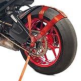 Sangle de serrage Racefoxx pour roue arrière de moto - Sécurisation au transport - Sangle d'arrimage - Rouge