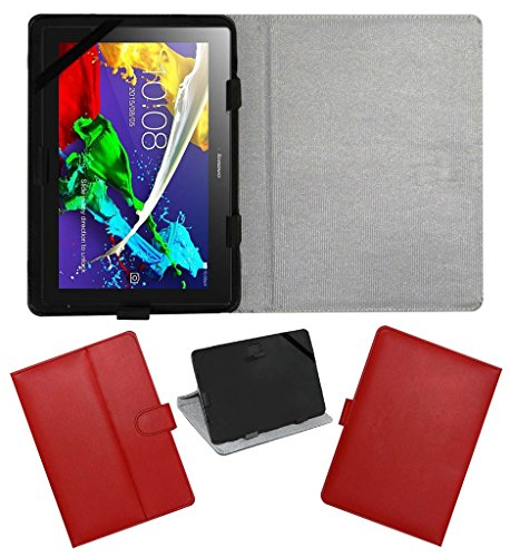 Acm Leather Flip Flap Case For Lenovo Tab 2 A10-70 Cover Stand Red  available at amazon for Rs.269