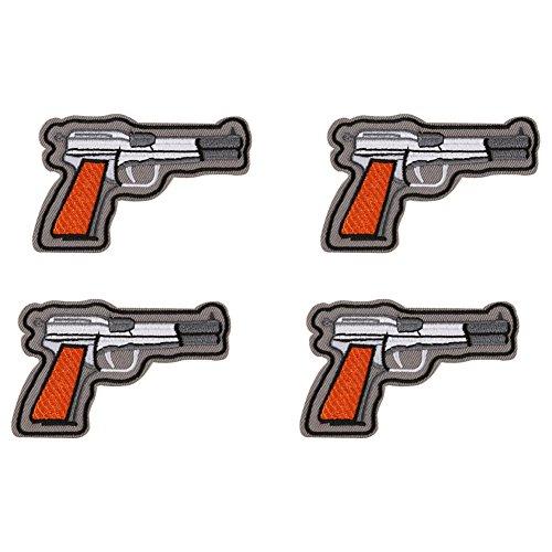 huixun Gun Pistole bestickt Patch für Kleidung Eisen nähen Applikation Kleidung Aufkleber Badge Jeans Jacken Dekoration DIY Patches 4-teilig (Bestickte Mädchen Jeans-rock)