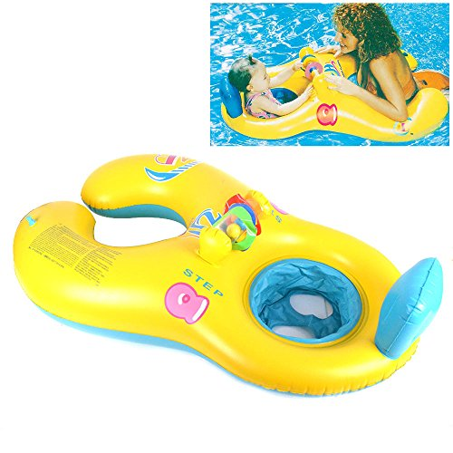 Rainyblue Mother Baby Swim Float – Soft Inflatable Kids Chair Seat Double Person Swimming Ring Pool Toys for Family Activities