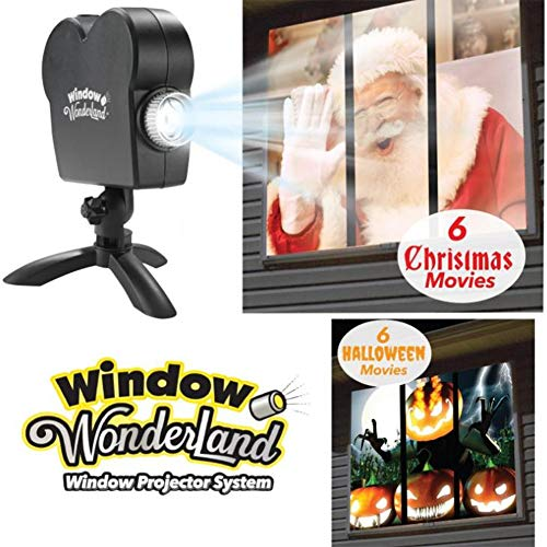 H&L Christmas Party Film Projektor, Wand Fenster Projektions Lichter Film verwandelt Ihre Fenster in Festliche Film Bildschirme LED Garden Video Player