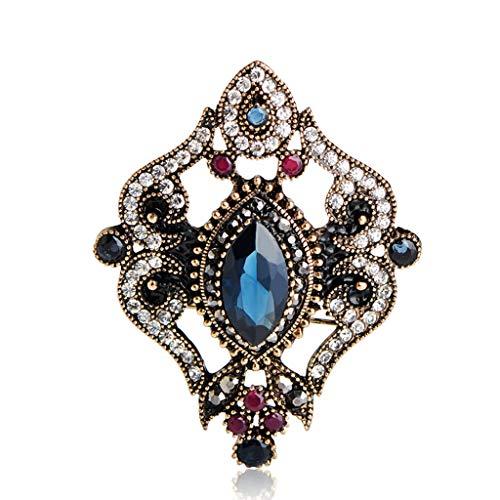 VNKHS Brosche New Vintage Türkische Brosche Truthahn Broschen Frauen Hochzeitskleid Partyzubehör Krone Haarnadel Antike Goldschmuck, blau