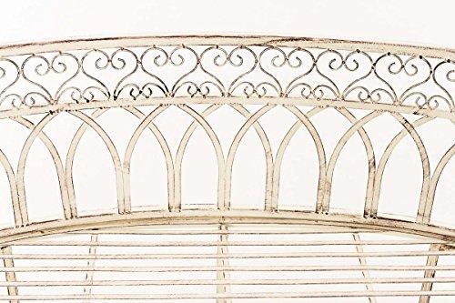 CLP Metall-Gartenbank AMANTI mit Armlehne, Landhaus-Stil, Eisen lackiert, Design antik nostalgisch, Form oval ca. 110 x 55 cm Antik Creme - 5