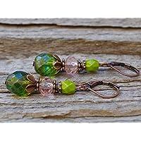 Vintage Ohrringe mit Glasperlen - grün, rosa & kupfer