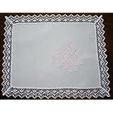 PRIMERAEDAD/Pañuelo bautizo blanco personalizado con nombre y fecha/32 x 26 cm/