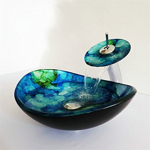 Homelava Modern Gehärtetes Glas Waschbecken mit Wasserfall Armatur Set (Blau 7) Blau Glas