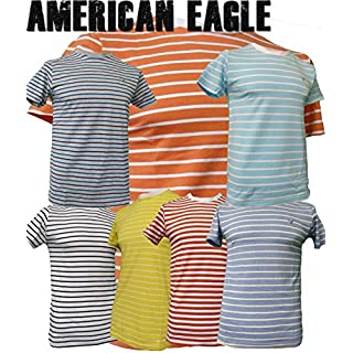 American Eagle Outfitters Mens Nautical Striped T-Shirt Top [XL,Red/White LL_0211]