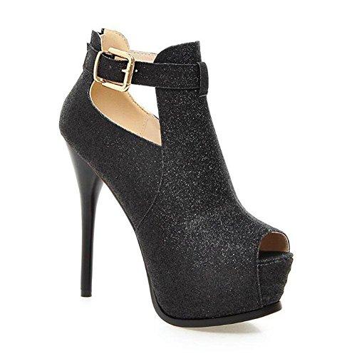 SHINIK Frauen Peep Toe Knöchel Strap Pumpe Charmante High-Heel Hohl Stiefel Römische Sandalen können angepasst werden Große Schuhe Black