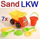 Sand LKW SET 7 tlg. aus Kunststoff, Spielzeug Kipper Eimer Schüppe Harke Sieb (LHS)