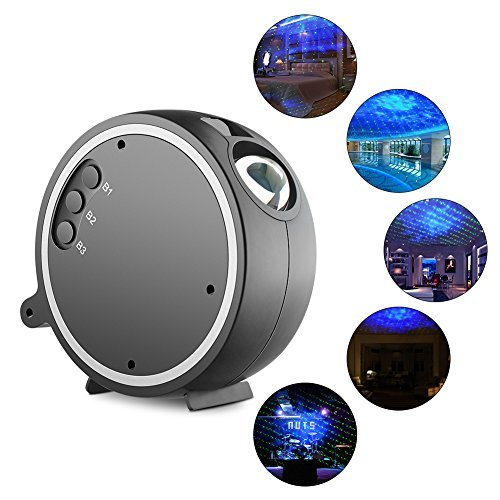 Proyección Luces, Sleep Soother Ocean Wave proyector de LED, Rotation 360 Sky Stars...