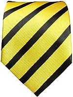 Gelb schwarze Krawatte 100% Seidenkrawatte by Paul Malone