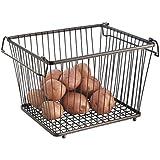 mDesign - Canasto abierto de alambre para almacenamiento; para cocina, alacena, gabinete - Bronce