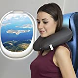 AllExtreme U Shaped Slow Rebound Micro beads Pillow Health Care Headrest for Office, Flight Fashion Look Neck Head Support Travel Pillow - Best Comfort Pain Relief for Long Trip,Car Traveling, Air Bus Traveling - (Grey)